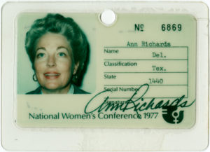 Ann Richards Identification Card